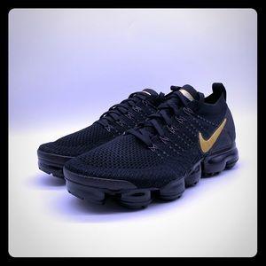 Nike Air VaporMax Flyknit 2 Shoe Black Gold